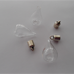 3 x GLASS BOTTLE LIGHT BULB CHARM WITH LID 18mm x 35mm