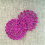 Purple crochet motive, ornaments, appliqué