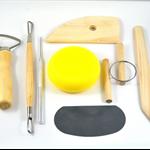 Pottery Tool Set of Eight Ceramic Sculpture Modelling  including Sponge, Kidney,