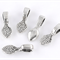 25 Silver Tone Leaf shaped Glue on Bails