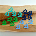 Self Adhesive Die Cut Sailboats - Multipack - Navy, Green, Aqua & Blue Pk of 16