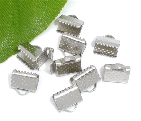 100  Silver Tone Textured End Cap Crimp Beads 8x6mm