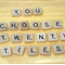 Scrabble Tiles, 20 pieces of your choice, + BONUS 5 piece Embellishment pack