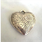Heart Metal Pendant Bead with flowers engraved