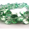50 x Glass Foil Propeller Beads - Green