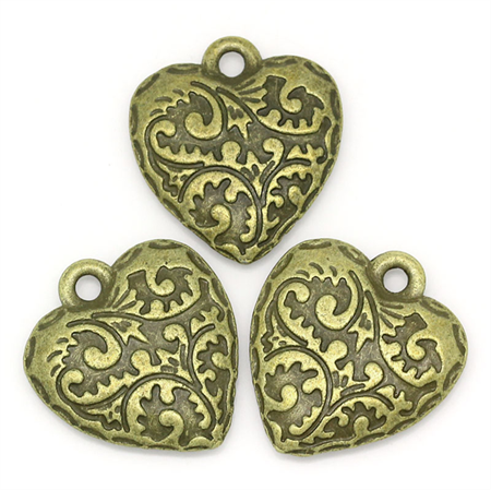4 Hearts Carved Patterned in Antique Bronze
