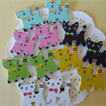 12  x Cat wood buttons 23mm ~Flat back-Ideal for card making