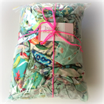 Blue/ Green Designer Fabric Scrap Bag - Jennifer Paganelli, Amy Butler