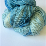 Hand dyed fingering weight yarn, merino silk blend.