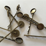 10 x Hair pins with 12mm tray AND 10 x 12mm glass domes - Antique Bronze