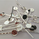 10 x Hair pins with 12mm tray AND 10 x 12mm glass domes - Silver plated