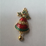 1 Charm Gold Finished Xmas Bells With Holly