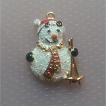 1 Charm 24KT Gold Finished Xmas Snowman With Skis