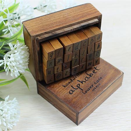 28 Piece Alphabet Rubber Stamp Set  Handwriting Lower Case with Wooden Box