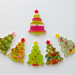 6 x 35mm x 25mm various coloured Christmas Tree wooden buttons