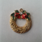 1 Charm Xmas Wreath with bow gold finished