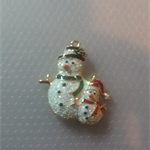 1 Charm 24KT Gold Finished Xmas 2 Snowman With Skis