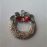 1 Charm Xmas Wreath with bow Silver