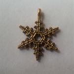 1 Charm Xmas Snowflake Gold Six point