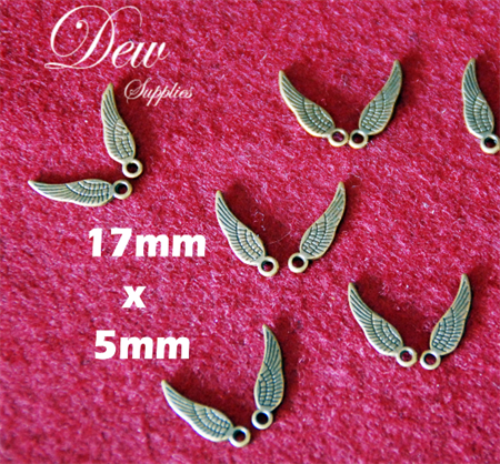 40x small vintage style bronze wings 17mm x 5mm, high quality and strong
