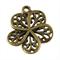 10 Charm Pendants Flower Antique Bronze