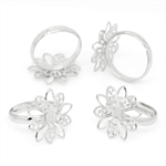 5 Silver Tone Adjustable Flower Rings