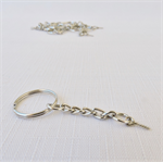 10 x Round Silver Coloured Split Ring/Keyring complete with chain and screw eye