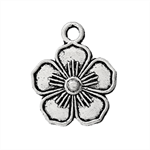 10 Antique Silver Flower  Charms