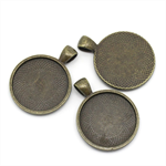 10 x 30mm Round Antique Bronze Pendant Settings