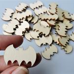 10 x Wooden Bat Shape Embellishments