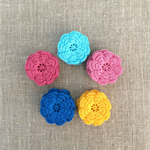 (New colours) pack of 5, Crochet flowers, light aqua, yellow, pink