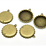 5 Bronze Tone Bottle Cap Charm Pendants