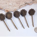 5x Ornate Hairclips with 18x13mm settings Lead, nickel and cadmium free