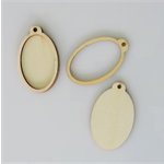 2 x wooden oval pendant frames - 4 pieces