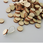 10 x wooden small 12mm round tiles shapes