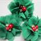 2 Chiffon Christmas Flower Rhinestone Pearl-Green