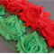 LAST SET 4 Shabby Chic Fabric Red & Green Christmas Rose Flowers