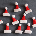 10 Santa Hats Christmas Embellishments