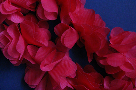 10 Red Shabby Chic Bella Fabric Flower Embellishments