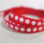10mm x 2m red white spot ribbon - quality Vandoros ribbon - 2 metres