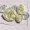 Ivory shabby chiffon rose flower with silver leaf detail - for hair accessories