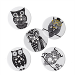50 pcs. Assorted black and white owl print wood buttons