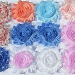 Spring Skies 12 Shabby chiffon rose flowers - mixed grab bag for hairclips