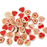 50 pcs. Assorted heart print wood buttons