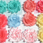 Coral Garden 12 shabby chiffon & fabric rose flowers, for craft & hairclips
