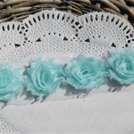 18 Icemint small shabby chiffon flowers - for millinery, craft and hairclips.
