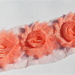 10 x Peach shabby chiffon rose flowers - trim for hairclips, millinery & craft