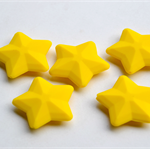3 x Silicone Star Beads - Yellow