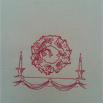 Machine Embroidery Quilt/Craft Block Redwork Candlelight Wreath Design