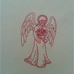 Machine Embroidery Quilt/Craft Block Redwork Peaceful Angel Design
